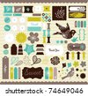 Girly design elements for scrapbooking - stock photo