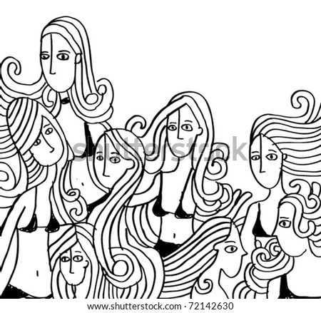 Girly doodles - stock vector