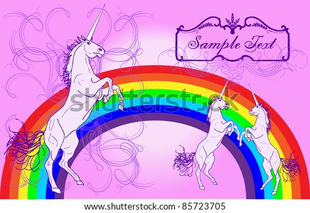 Girly Unicorn layout Design - stock vector