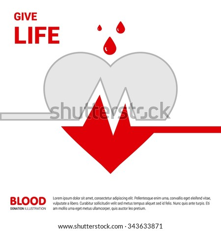 Give Life Big Heart with half blood and empty. Donate blood awareness poster template. Creative typography Design template. Health care poster design. isolated on Red background. Vector illustration