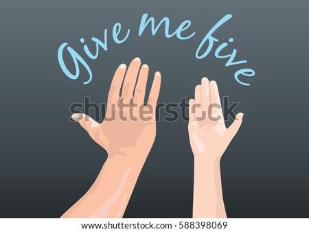[Jeu] Association d'images - Page 17 Stock-vector-give-me-five-588398069