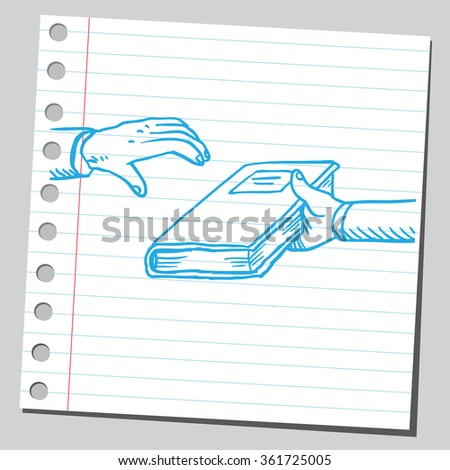Giving book - stock vector