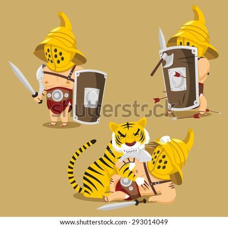 Gladiator Power Glory Blood Winner Hero vector cartoon illustration - stock vector
