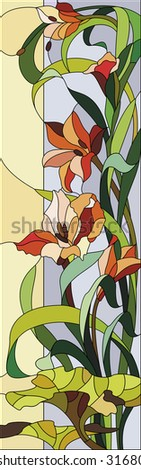 Gladioli stained-glass window - stock vector