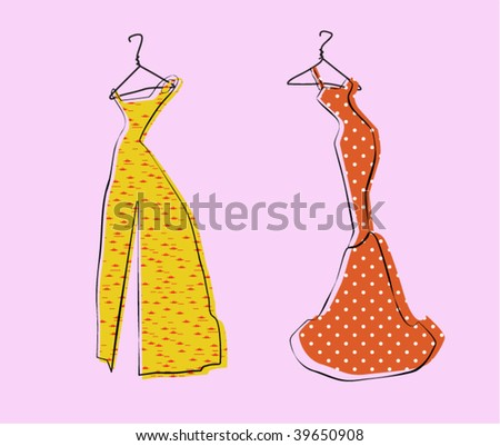 Glamor Girl's Wardrobe, Gold and Red Evening Gowns - stock vector