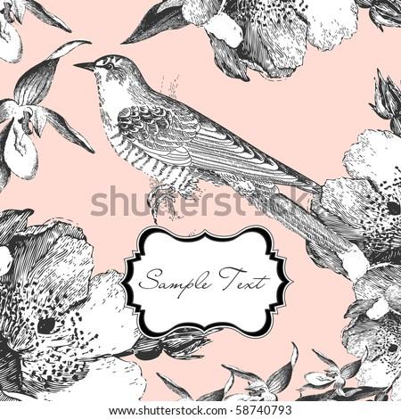 glamorous card with a bird - stock vector
