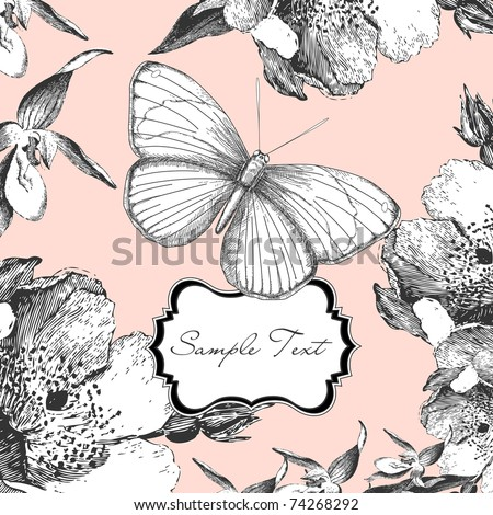glamorous card with a butterfly - stock vector