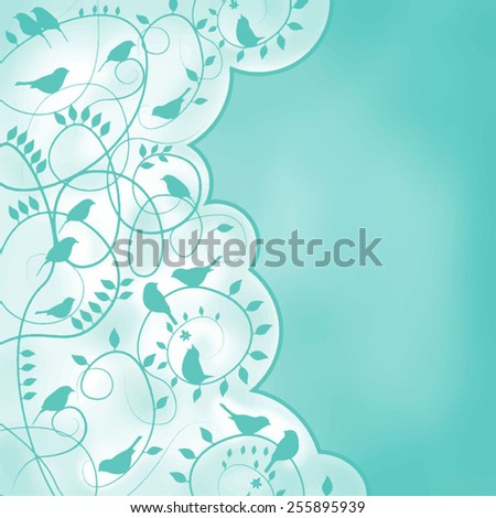 Glamorous doodle with birds - stock vector