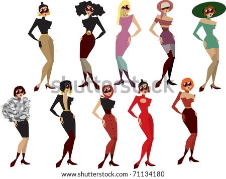 glamorous fashion  girls vector set - stock vector