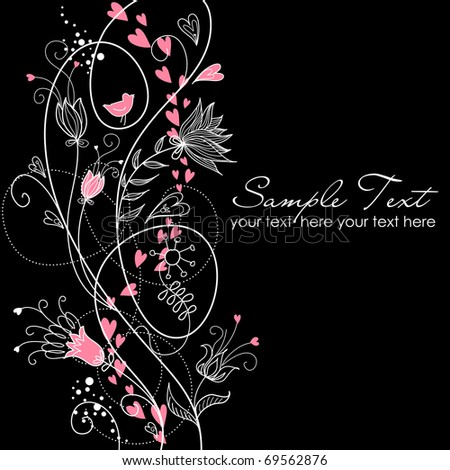 glamorous floral black and white background - stock vector
