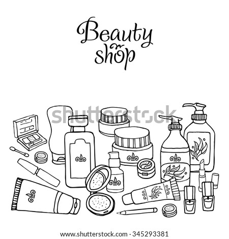 Glamorous hand drawn card template with make up objects shampoo, cream, lipstick, mascara nail-polish, perfume, lotion, eyeshadow. Doodle cosmetics background for beauty shop.