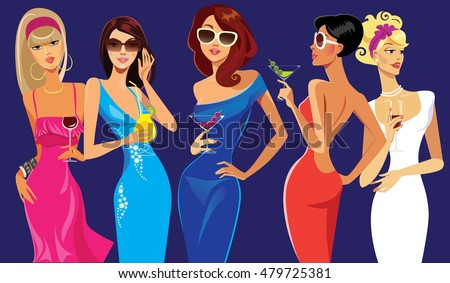 glamorous lady cocktail, girl party, evening dress