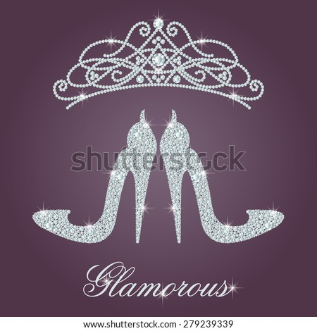 Glamour design elements. Elegant ladies high heels shoe shape, made with shiny diamonds. And crystals diadem. Isolated on the round gradient dark violet background. Vector illustration. - stock vector