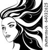 glamour girl with black hairs - stock vector