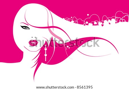 glamour girl with hearts in hair - stock vector