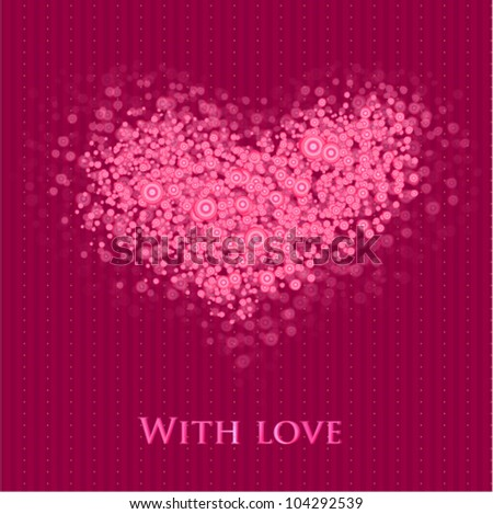 Glamour stylish big heart on seamless striped background. (vector) - stock vector