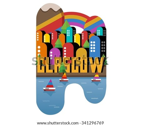 Glasgow in UK is Beautiful city to visit on holiday, vector cartoon illustration - stock vector