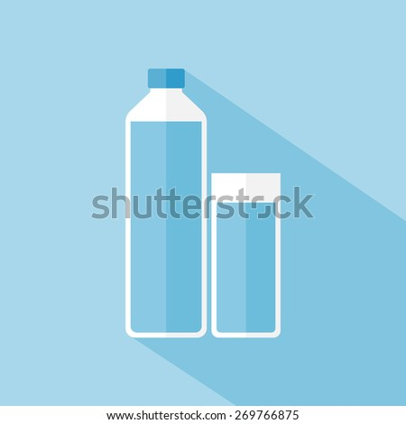 Glass and bottle - stock vector