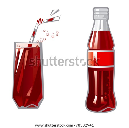 Glass and Bottle. Vector Illustration of glass and Bottle with dark red beverage - stock vector