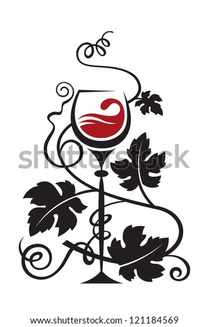 glass and grapes - stock vector