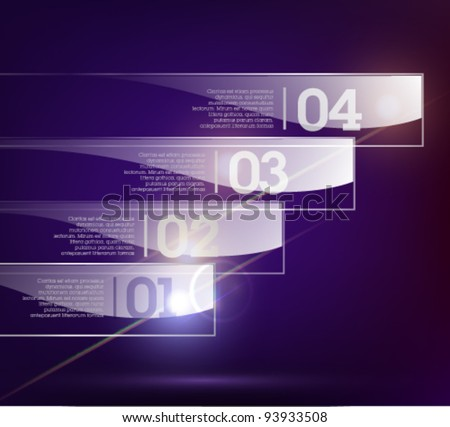 Glass background. Transparent glass plates. Vector illustration. Eps10. Suitable for infographics, graphic design or web design. Dark background. - stock vector