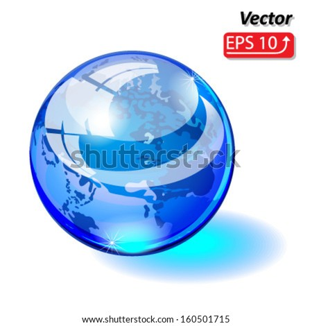 glass ball blue planet earth, globe, world map isolated on white background vector