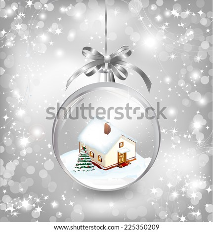 Glass ball Christmas with a little house, snow, fir tree and silver bow. Vector - stock vector