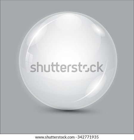 Glass ball. Transparent ball. Gray vector ball. Water drop. Lens. 3de drop. Sphere on a white background isolated