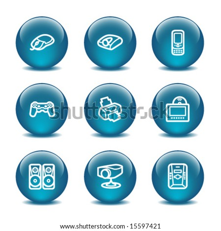 Glass ball web icons, set 21 - stock vector