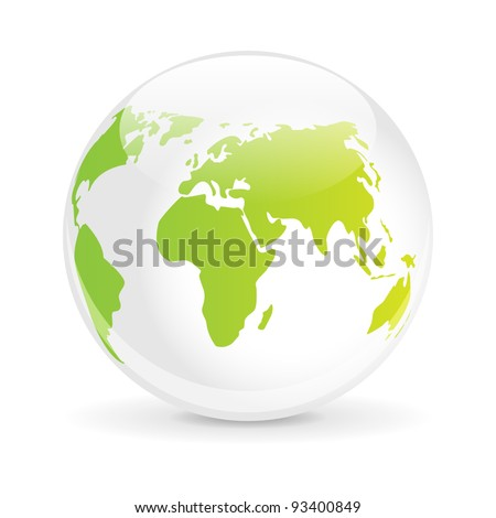 Glass ball with a map of the world - stock vector