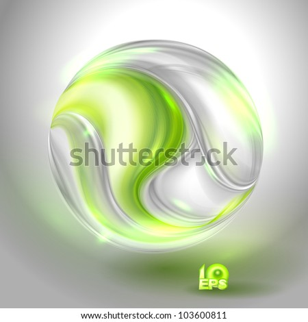 Glass ball with green swirl - stock vector