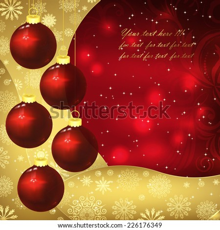 Glass balls, golden snowflakes and frosty patterns on a red background. Christmas background, vector illustration. - stock vector