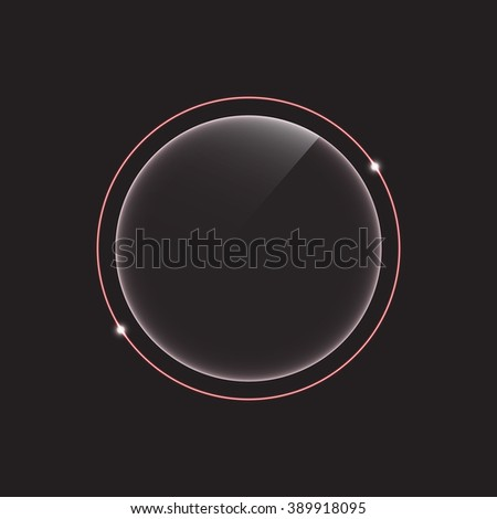 glass banner with neon glowing - stock vector