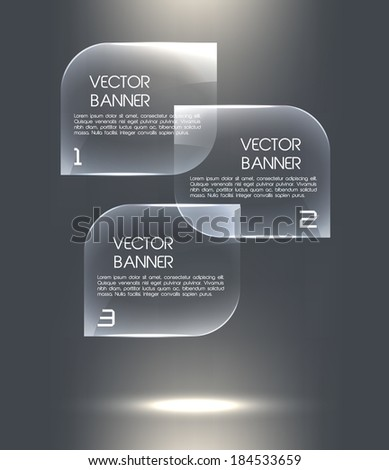 Glass banners. Vector speech bubbles for business design, infographics, reports, options, presentations.  - stock vector