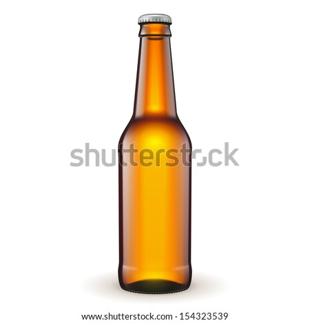 Glass Beer Brown Bottle On White Background Isolated. Ready For Your Design. Product Packing. Vector EPS10  - stock vector