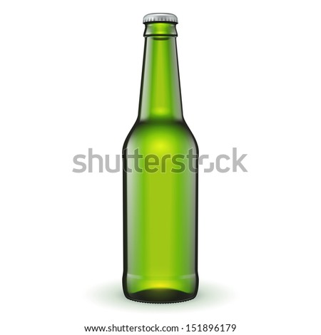 Glass Beer Green Bottle On White Background Isolated. Ready For Your Design. Product Packing. Vector EPS10 - stock vector