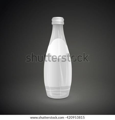 glass beverage bottle with blank label isolated on black background. 3D illustration. - stock vector