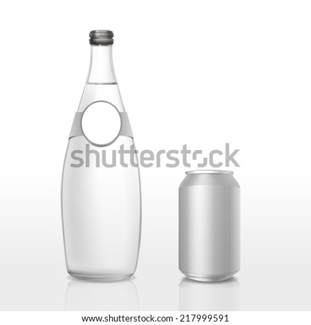 glass bottle and can with blank label isolated on white background - stock vector