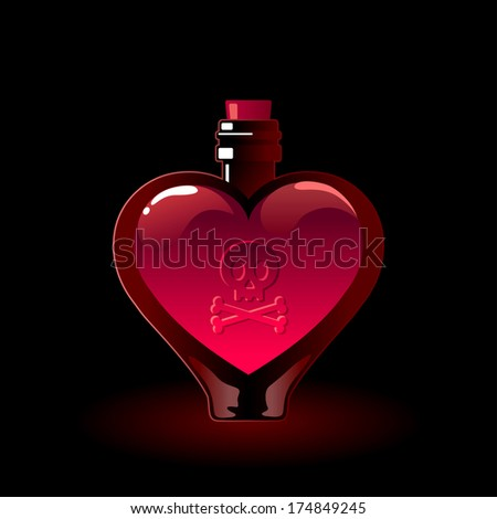 Glass bottle filled with a pink love potion - stock vector
