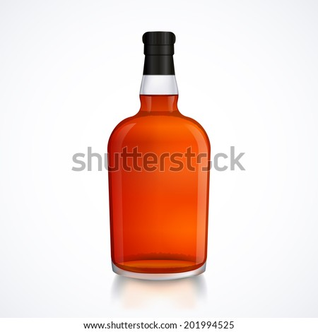 Glass bottle of alcohol drink, whiskey, bourbon, liquor, brandy, cognac with reflection, isolated on white background, stock vector graphic illustration - stock vector