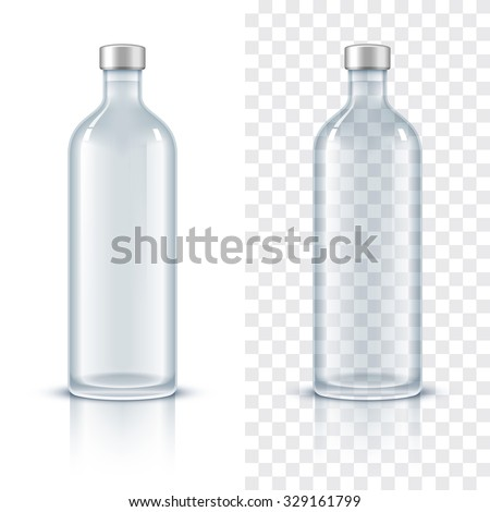 Glass bottle of alcohol. Realistic vector illustration - stock vector