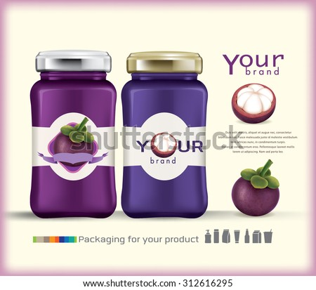 Glass bottle packaging for fruit jam design.mangosteen