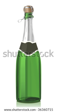 Glass bottle with classical Champagne wine and cork stopper (serie of images) - stock vector