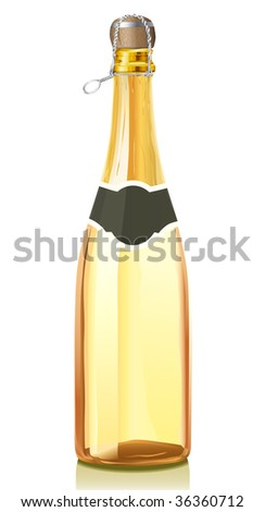 Glass bottle with gold Champagne wine and cork stopper (serie of images) - stock vector