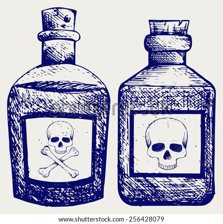 Glass bottles of poison. Doodle style - stock vector