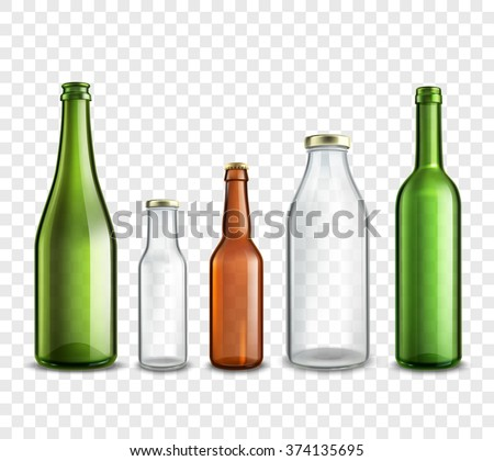 Glass bottles realistic 3d set isolated on transparent background vector illustration - stock vector