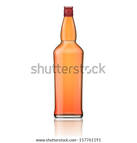 Glass brandy (bourbon, whiskey, cognac) bottle. Vector illustration. Glass bottle collection, item 4. - stock vector
