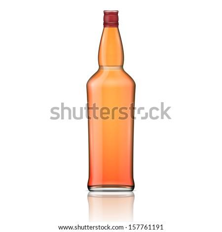 Glass brandy (bourbon, whiskey, cognac) bottle. Vector illustration. Glass bottle collection, item 4. - stock vector