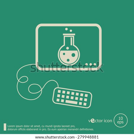 Glass bulb icon and flat design elements. Line icons for application development, web page coding and programming, web design, creative process, social media, seo - stock vector