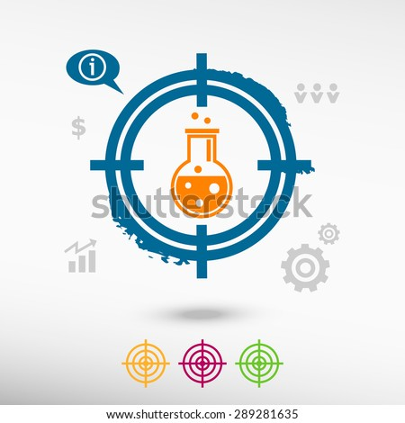 Glass bulb icon on target icons background. Flat illustration.
